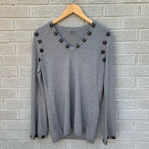 One Girl Who V-Neck Studded Bell Sleeve Sweater